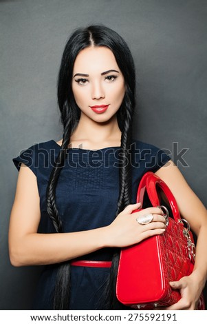 Stylish Fashion Brunette with with long black Braids - stock photo