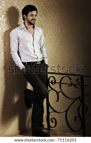 Stylish fashionable attractive young man, old type, full length photo - stock photo