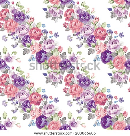 Stylish floral seamless pattern. Retro decor illustration - stock photo