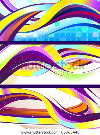 stylish flowing abstract banners