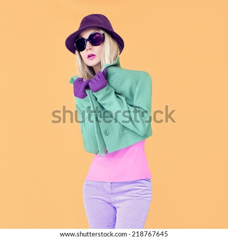 Stylish girl autumn bright look - stock photo