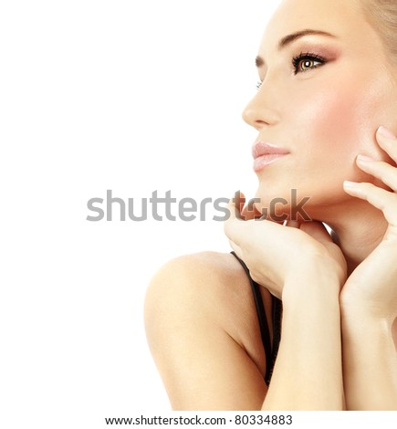 Stylish girl portrait with fashion makeup, isolated on white background, spa and beauty treatment concept
