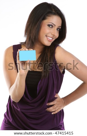 Stylish girl with blue credit card - stock photo