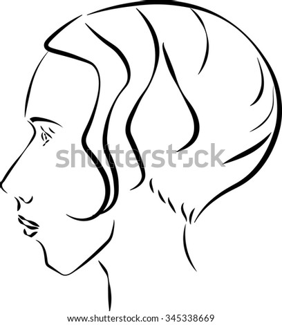 stylish girl with good haircut bob on the white background