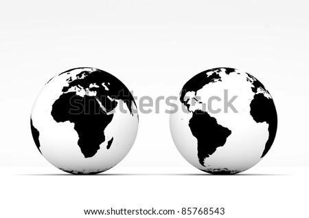 Stylish Globe on white background - stock photo