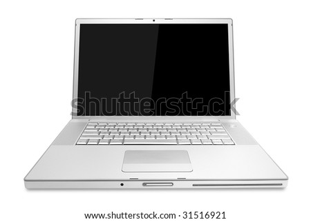Stylish  glossy aluminum laptop with black screen