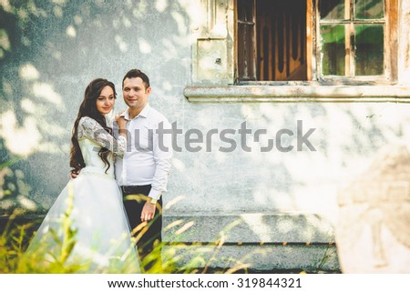 stylish gorgeous happy brunette bride  and elegant groom on the background of an old building - stock photo