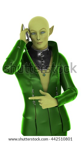 Stylish green alien creature with mobile phone isolated on white. 3d illustration. - stock photo