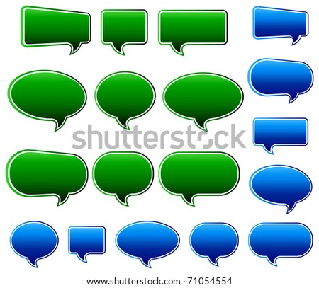 Stylish Green & Blue Speech Bubbles - A Vector file is also available