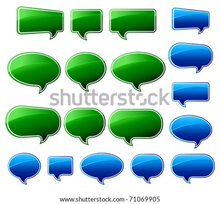 Stylish Green & Blue Speech Bubbles - Vector file is also available