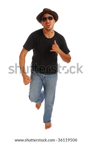 Stylish guy is running - stock photo