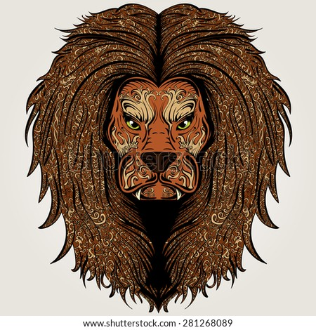 Stylish hand drawn lion decorated with vintage ornament  - stock photo