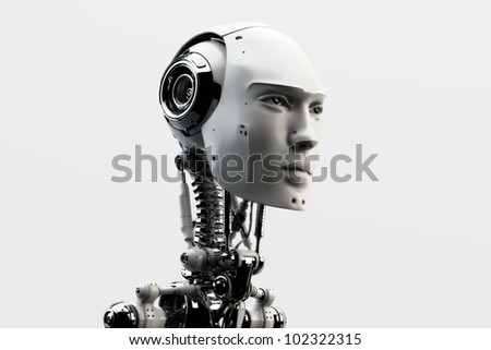 Stylish handsome cyborg head in profile / Futuristic man - stock photo