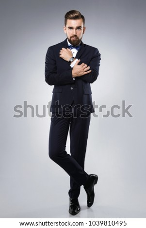 Stylish handsome male model wearing a classic suit with bow-tie