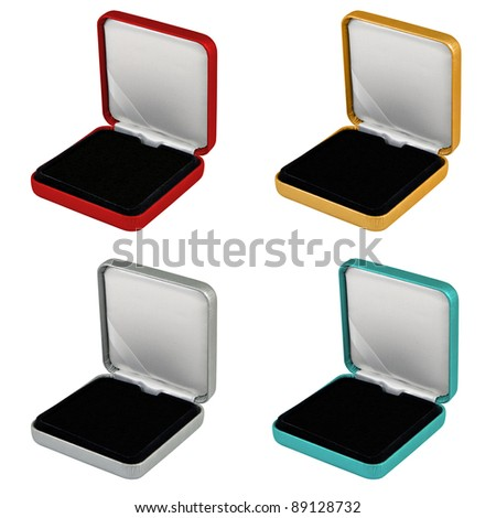 stylish Happy new Year or Christmas hi quality opened different color leather case gift set with black interior isolated over white - stock photo