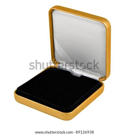 stylish hi quality opened gold leather case with black interior isolated over white - stock photo