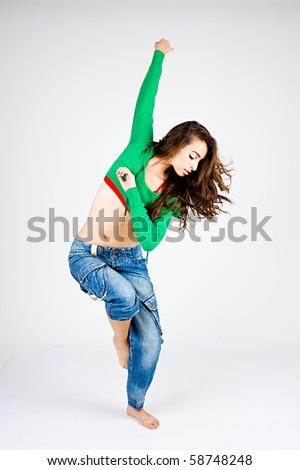 stylish hip-hop dancer posing - stock photo