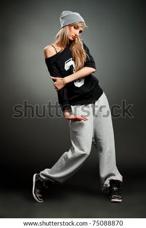 stylish hip hop girl - stock photo