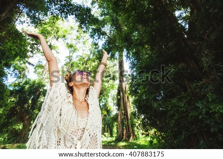 stylish hippie girl in the forest - stock photo