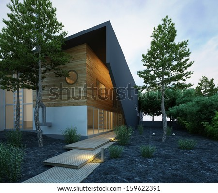 Stylish house exterior at dawn - stock photo
