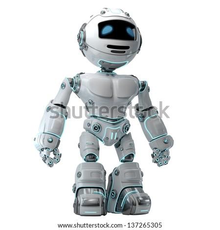 Stylish illuminated robotic toy on white / Cool brave robot - stock photo