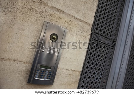 Stylish intercom on the facade of a French mansion