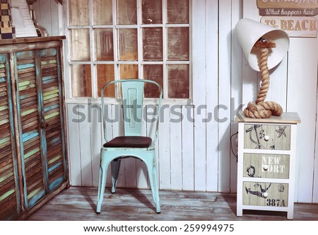 stylish interior corner with sea and beach shabby design ideas - stock photo