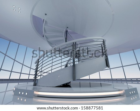 Stylish interior room with the stairs. - stock photo