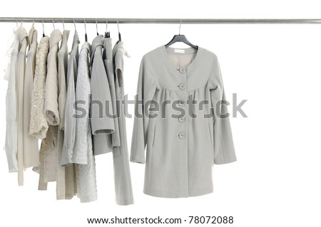 Stylish jacket on hangers at the show - stock photo