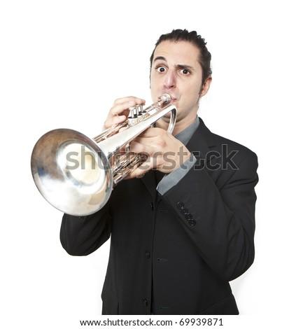 stylish jazz man playing the trumpet on white background - stock photo