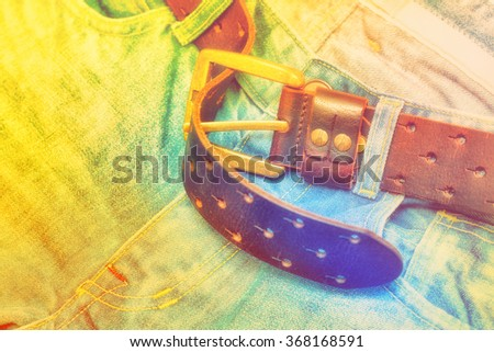 stylish jeans and a belt, art processing photos - stock photo