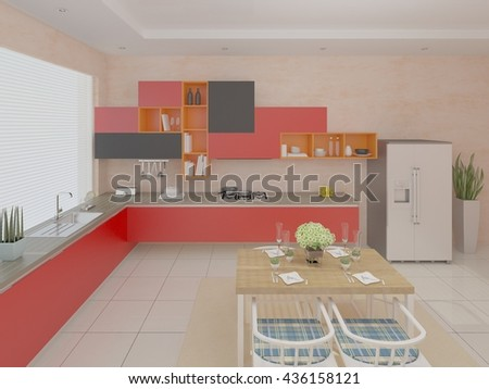 Stylish kitchen design with red furniture, 3d rendering. - stock photo
