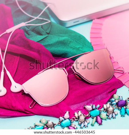 Stylish Ladies Accessories. Sunglasses & Colourful Necklace,Earphones,computer,scarf. Focus on Pastel Colors.Fashion Urban Style set.Ideal for blogs or magazines. Mock up.