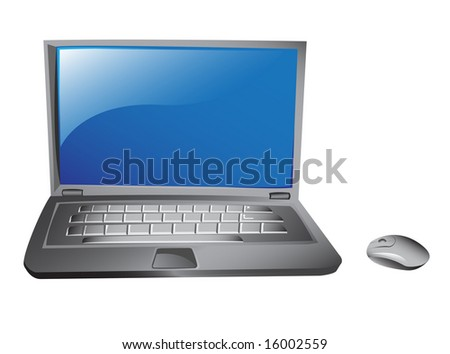 stylish laptop icon and mouse isolated