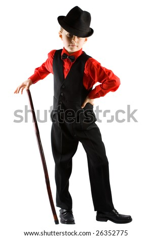 Stylish little dancer with hat and cane, isolated on white background