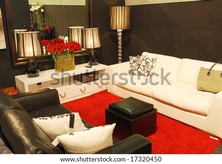 stylish living room design - stock photo