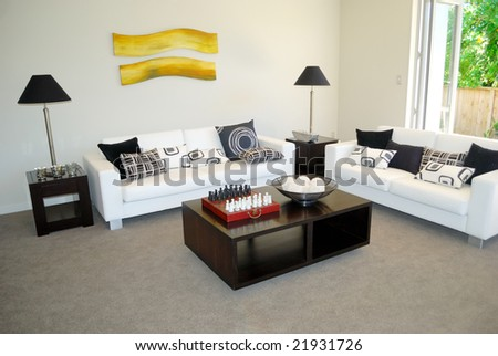 stylish living room with elegant furniture - stock photo