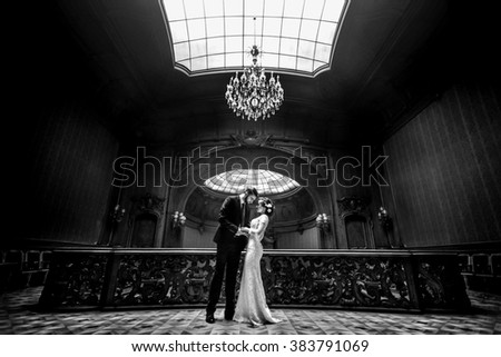 stylish luxury bride and handsome elegant groom dancing on the background of old wooden  luxury interior - stock photo