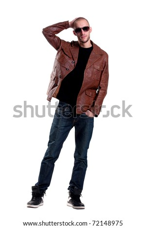 stylish man in glasses a leather jacket, scratching his head