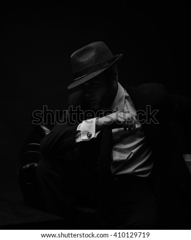 Stylish man with the hat and beard  black and white portrait