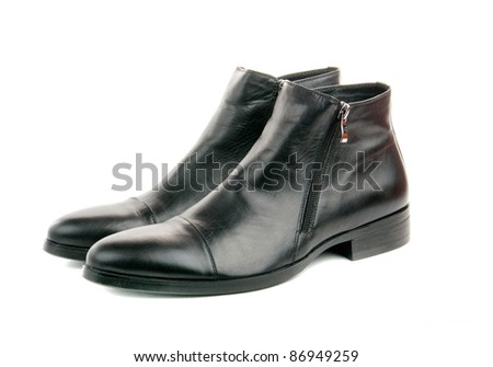 stylish men black boots white isolated