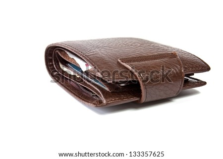 Stylish mens leather wallet brown leather on a white background - stock photo