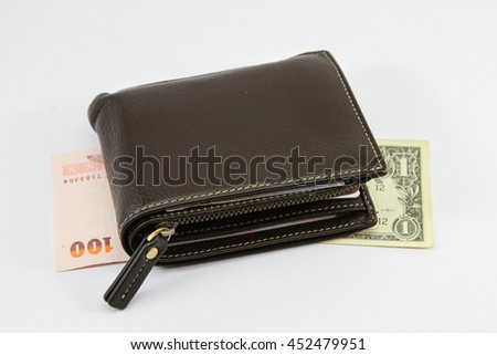 Stylish mens leather wallet brown leather on a white background
