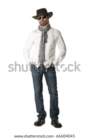 Stylish middle aged man in a cowboy hat. - stock photo