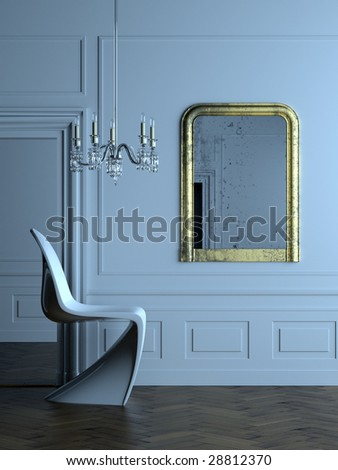 Stylish modern interior in a classical Parisian apartment (3D render) - stock photo