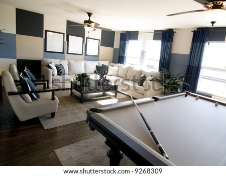 Stylish Modern Luxury Game Room Interior Design With Pool Table In Foreground