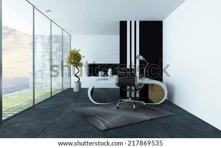 Stylish modern office or study with grey and white decor, a curved modular desk and chrome swivel chair and long floor to ceiling glass windows leading to a patio - stock photo