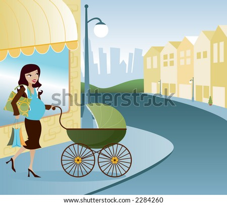 Stylish Mom out shopping with baby - stock photo