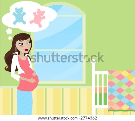 Stylish Mom-to-be in the nursery, wondering if she'll have a girl or a boy? - stock photo