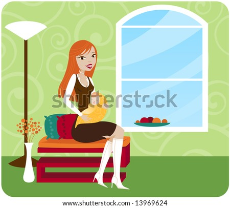 Stylish Mommy sits in her chic home and holds her baby... - stock photo